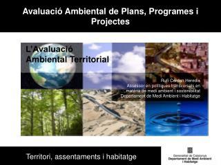 Avaluació Ambiental de Plans, Programes i Projectes