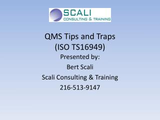QMS Tips and Traps (ISO TS16949)