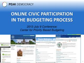 2013 July 9 Conference: Center for Priority Based Budgeting