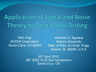 Application of Signal and  Noise Theory  to Digital VLSI Testing