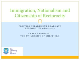 Immigration, Nationalism and Citizenship of Reciprocity