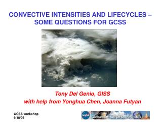 CONVECTIVE INTENSITIES AND LIFECYCLES � SOME QUESTIONS FOR GCSS