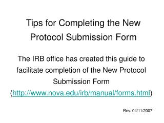 Tips for Completing the New Protocol Submission Form