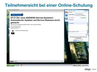 Teilnehmersicht bei einer Online-Schulung