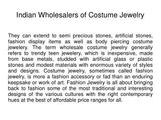 Indian Wholesalers of Costume Jewelry