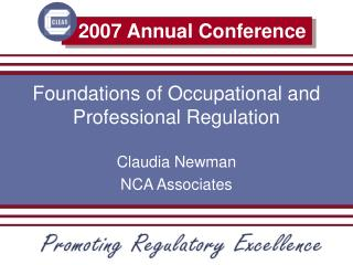 Foundations of Occupational and Professional Regulation