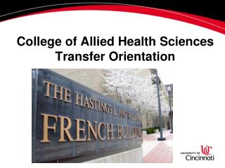 College of Allied Health Sciences Transfer Orientation