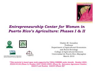 Entrepreneurship Center for Women in Puerto Rico's Agriculture: Phases I & II
