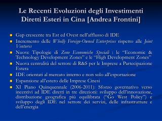 Le Recenti Evoluzioni degli Investimenti Diretti Esteri in Cina [Andrea Frontini]