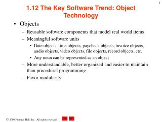 1.12 The Key Software Trend: Object Technology