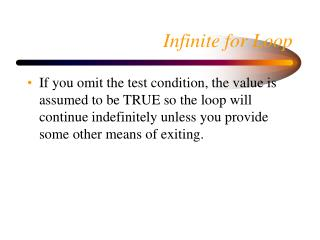 Infinite for Loop