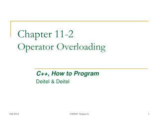 Chapter  11-2 Operator Overloading