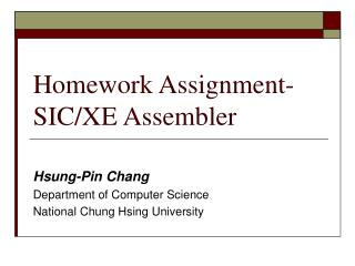 Homework Assignment-SIC/XE Assembler