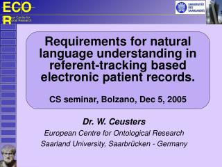 Requirements for natural language understanding in referent-tracking based electronic patient records. CS  seminar, Bol