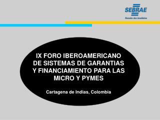 IX FORO IBEROAMERICANO DE SISTEMAS DE GARANTIAS Y FINANCIAMIENTO PARA LAS MICRO Y PYMES  Cartagena de Indias, Colombia