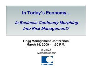 In Today's Economy…