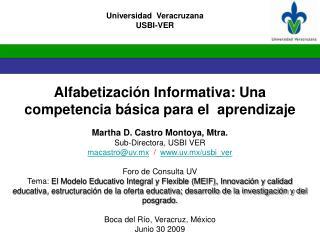 Alfabetización Informativa: Una  competencia básica para el  aprendizaje Martha D. Castro Montoya,  Mtra. Sub-Directora