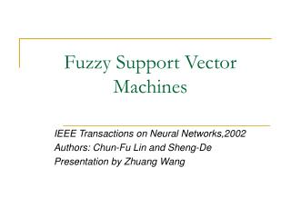 Fuzzy Support Vector Machines