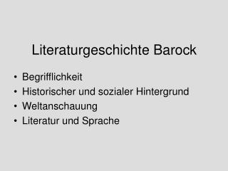 Literaturgeschichte Barock