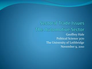Sectoral  Trade Issues The Automotive Sector