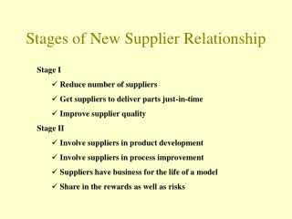 Stages of New Supplier Relationship