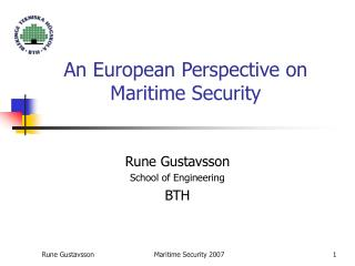An European Perspective on  Maritime Security