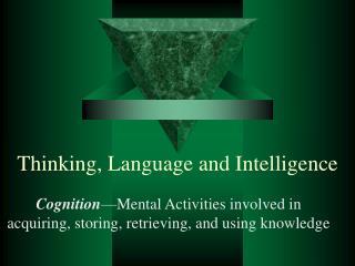 Thinking, Language and Intelligence