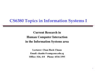 CS63 80 Topics in Information Systems I