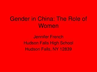 Gender in China: The Role of Women
