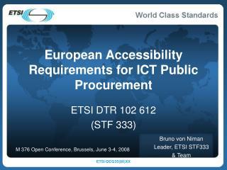European Accessibility Requirements for ICT Public Procurement
