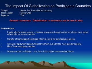 The Impact Of Globalization on Participants Countries