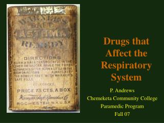 Drugs that Affect the Respiratory System