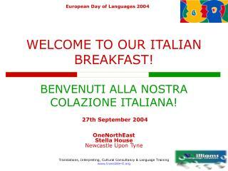 WELCOME TO OUR ITALIAN BREAKFAST! BENVENUTI ALLA NOSTRA COLAZIONE ITALIANA!