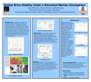 Sulfate Brine Stability Under a Simulated Martian Atmosphere Jackie D Denson, Vincent Chevrier, and Derek Sears