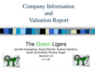Company Information  and  Valuation Report