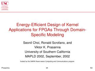 Energy-Efficient Design of Kernel Applications for FPGAs Through Domain-Specific Modeling