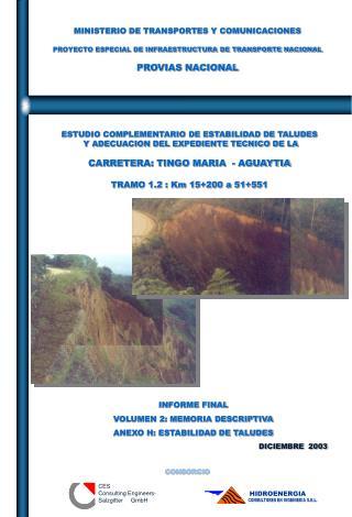ESTUDIO COMPLEMENTARIO DE ESTABILIDAD DE TALUDES  Y ADECUACION DEL EXPEDIENTE TECNICO DE LA  CARRETERA: TINGO MARIA  -