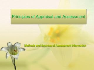 Principles of Appraisal and Assessment