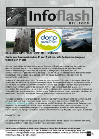 BELLEGEM WINT PRIJS 'DORP MET TOEKOMST' Gratis avonturenweekend op 11 en 12 juli voor alle Bellegemse jongeren tussen 8