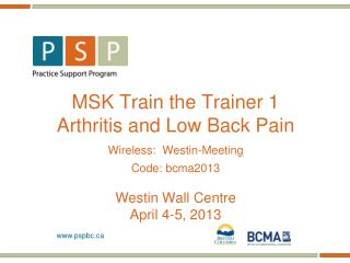 MSK Train the Trainer 1 Arthritis and Low Back Pain