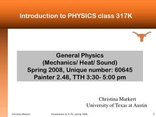 Introduction to PHYSICS class 317K