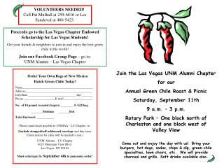 Join the Las Vegas UNM Alumni Chapter for our  Annual Green Chile Roast & Picnic Saturday, September 11th 9 a.m. – 3 p.