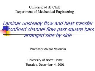 Laminar unsteady flow and heat transfer in confined channel flow past square bars arranged side by side