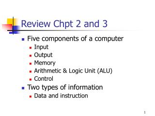 Review Chpt 2 and 3