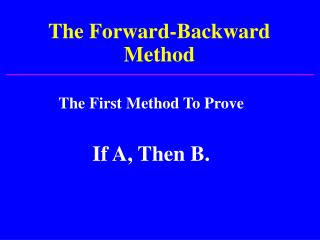 The Forward-Backward Method
