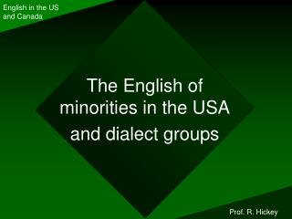 The English of minorities in the USA and dialect groups