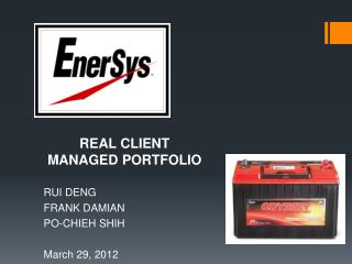 REAL CLIENT MANAGED PORTFOLIO  RUI DENG FRANK DAMIAN  PO-CHIEH SHIH March 29, 2012