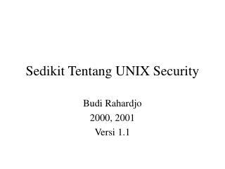 Sedikit Tentang UNIX Security
