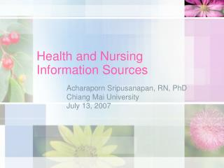 Health and Nursing Information Sources