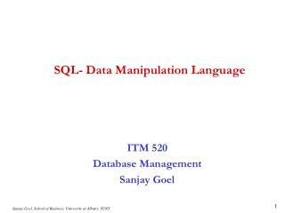 SQL- Data Manipulation Language